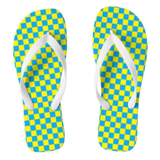 Checkered Turquoise and Yellow Flip Flops