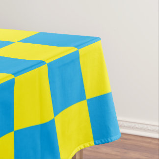 Checkered Turquoise and Yellow Tablecloth