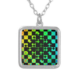 Checkered Twist Square Pendant Necklace