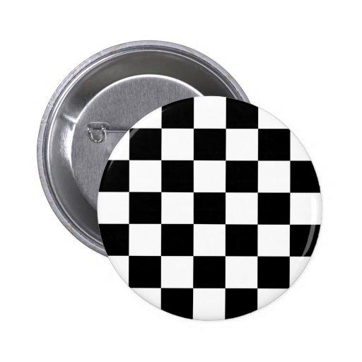 Checkered Two Tone Ska Button