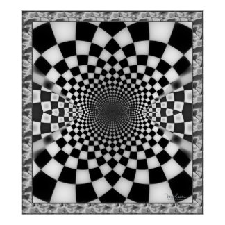 Checkered Waves Tunnel Poster