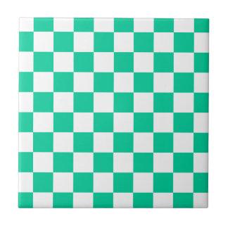 Checkered - White and Caribbean Green Ceramic Tile