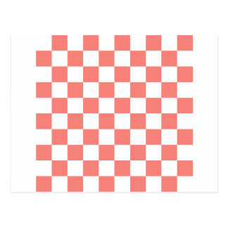 Checkered - White and Coral Pink Post Card