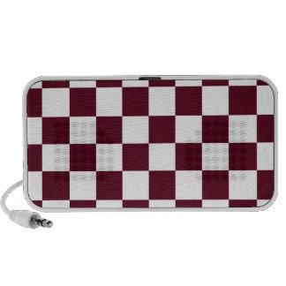 Checkered - White and Dark Scarlet Travel Speaker