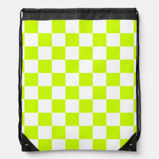 Checkered - White and Fluorescent Yellow Backpacks