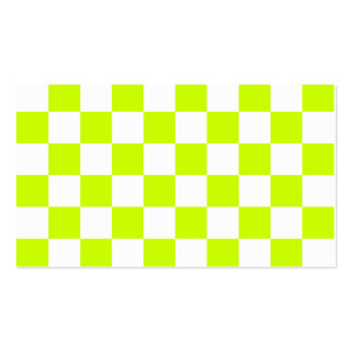 Checkered - White and Fluorescent Yellow Business Cards