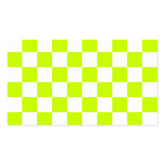 Checkered - White and Fluorescent Yellow Business Card Templates