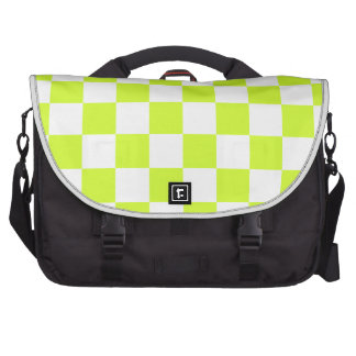 Checkered - White and Fluorescent Yellow Commuter Bags
