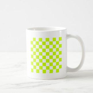 Checkered - White and Fluorescent Yellow Mug