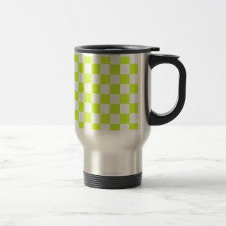 Checkered - White and Fluorescent Yellow Mugs