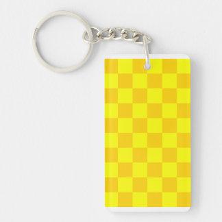 Checkered - Yellow and Dark Yellow Rectangular Acrylic Key Chain