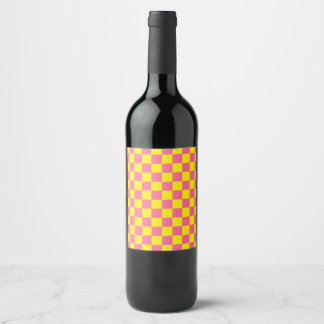 Checkered Yellow and Pink Wine Label
