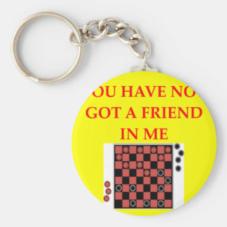 checkers basic round button key ring