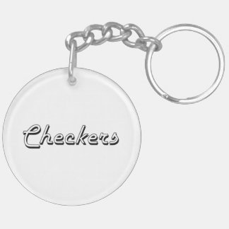 Checkers Classic Retro Design Double-Sided Round Acrylic Key Ring