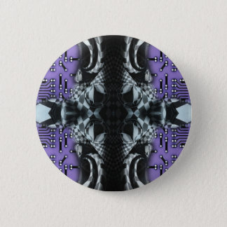 Checkers on purple circuitboard 6 cm round badge