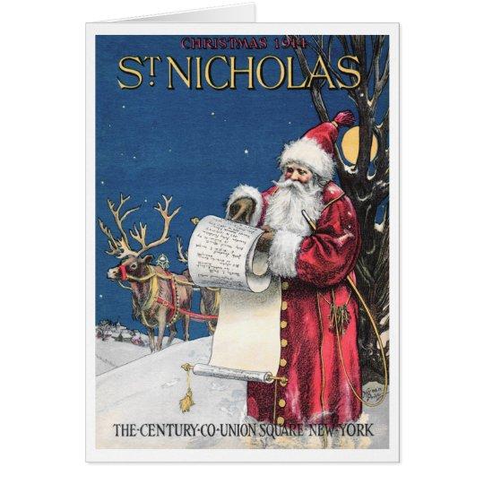 """CHECKING HIS LIST"" CHRISTMAS EVE ST NICHOLAS CARD"