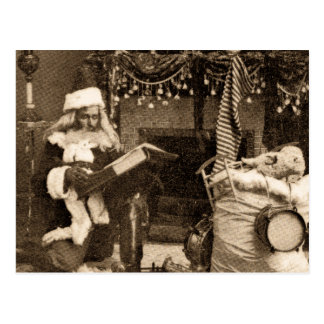 Checking It Twice Vintage Christmas Stereoview Postcard