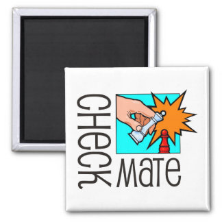 Checkmate! Chess pieces (brainy board game) Square Magnet