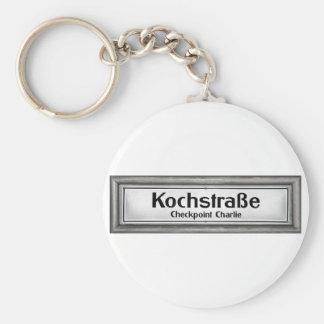 Checkpoint Charlie, Kochstrabe, Black and White Basic Round Button Key Ring