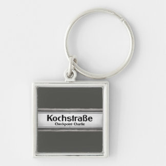 Checkpoint Charlie, Kochstrabe, Black and White Silver-Colored Square Key Ring