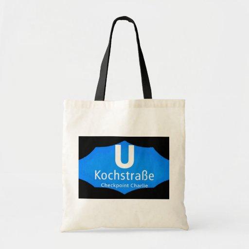 Checkpoint Charlie, Kochstrabe, UBahn, Blue,/Blk Canvas Bags