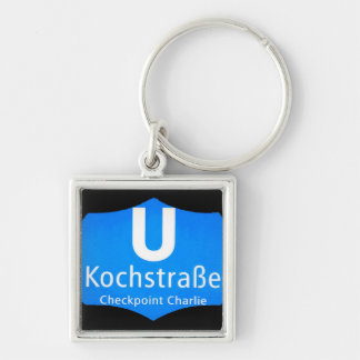 Checkpoint Charlie, Kochstrabe, UBahn, Blue,/Blk Silver-Colored Square Key Ring