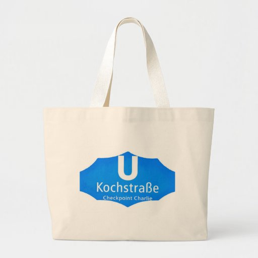 Checkpoint Charlie, Kochstrabe, UBahn, Blue,/White Tote Bags