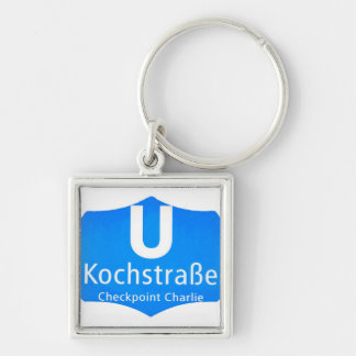 Checkpoint Charlie, Kochstrabe, UBahn, Blue,/White Silver-Colored Square Key Ring