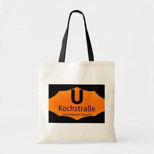 Checkpoint Charlie, Kochstrabe, UBahn, Orange,/Blk Tote Bag