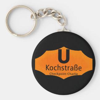 Checkpoint Charlie, Kochstrabe, UBahn, Orange,/Blk Basic Round Button Key Ring