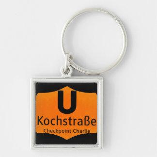 Checkpoint Charlie, Kochstrabe, UBahn, Orange,/Blk Silver-Colored Square Key Ring