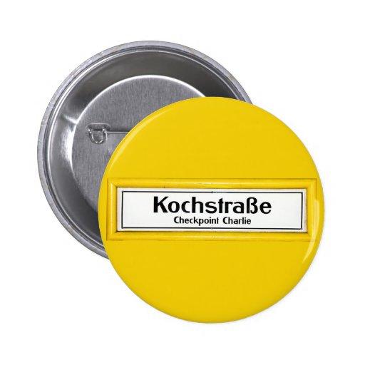 Checkpoint Charlie, Kochstrabe, Yellow Border Pinback Button