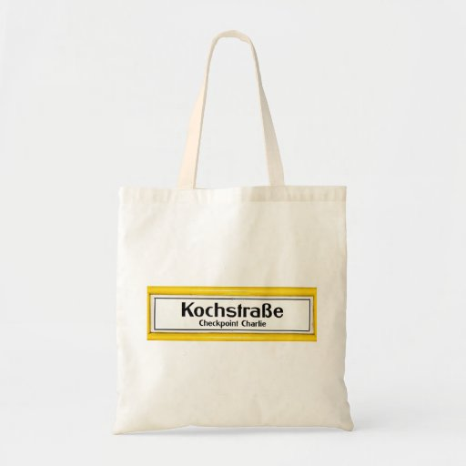 Checkpoint Charlie, Kochstrabe, Yellow Border Canvas Bags