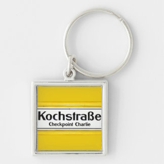 Checkpoint Charlie, Kochstrabe, Yellow Border Silver-Colored Square Key Ring