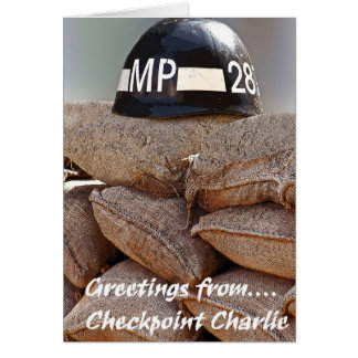 Checkpoint Charlie,Military Police Helmet,Greeting Greeting Card