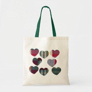 Checks in heart budget tote bag