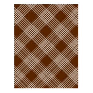 Checks Plaid Tartan Brown Diagonal Wallpaper Postcard