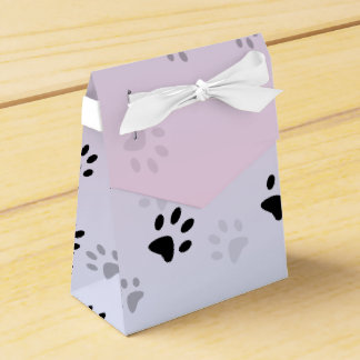 Cheeky Cat Footprints Pink and Blue Favour Box