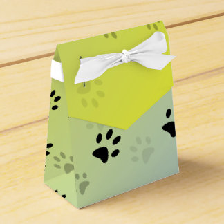 Cheeky Cat Footprints with Yellow Background Favour Box