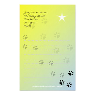 Cheeky Cat Footprints with Yellow Background Stationery Paper