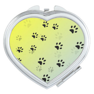 Cheeky Cat Footprints with Yellow Background Travel Mirror