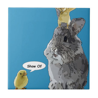 Cheeky Chick Easter Bunny Cartoon Tile