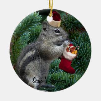 Cheeky Christmas Chipmunk Round Ceramic Decoration