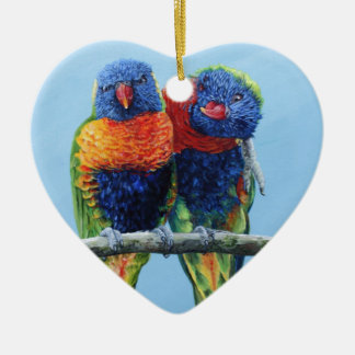 Cheeky colourful Rainbow lorikeets preening each Christmas Ornament