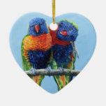 Cheeky colourful Rainbow lorikeets preening each Ceramic Heart Decoration
