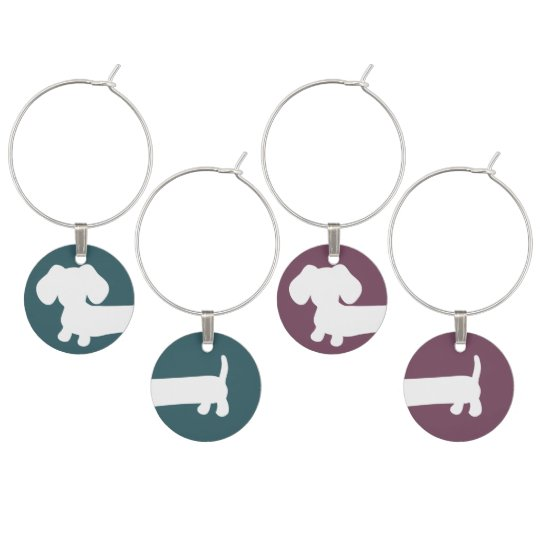 Cheeky Dachshund Wine Glass Charms Front and Back