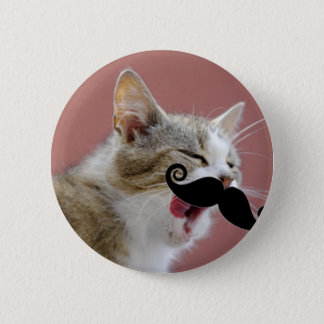 Cheeky Ginger Tabby Cat with Tongue Out & Mustache 6 Cm Round Badge