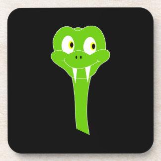 Cheeky Green Snake Cartoon on Black Coaster