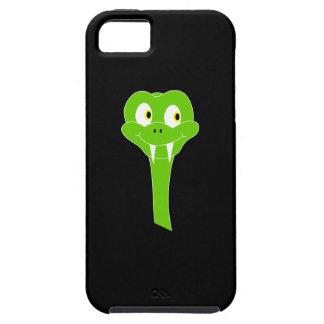 Cheeky Green Snake Cartoon on Black iPhone 5 Case