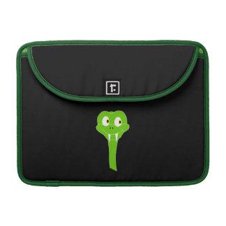 Cheeky Green Snake Cartoon on Black Sleeve For MacBooks